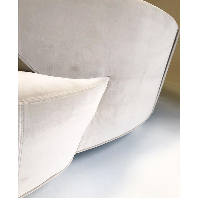 Vintage Vladimir Kagan for Directional Cloud Sofa Restored in Loro Piana Grey Velvet For Sale - Image 9 of 10