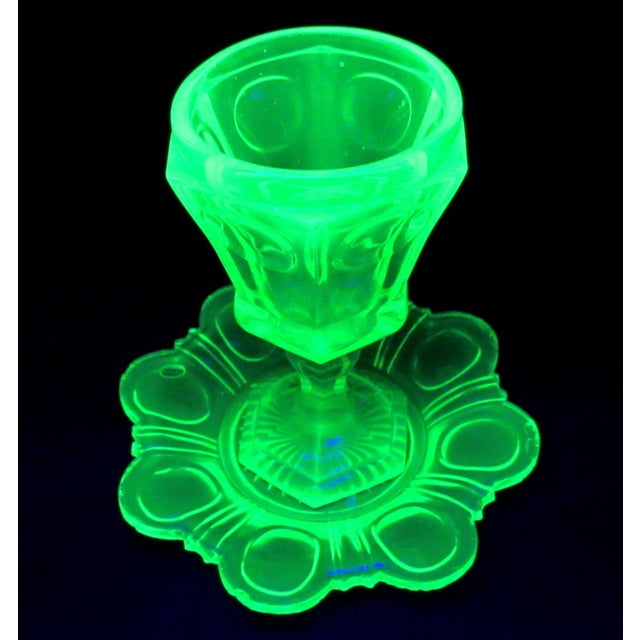 Antique Imperial Russian Uranium Glass Goblet and Saucer For Sale - Image 11 of 12