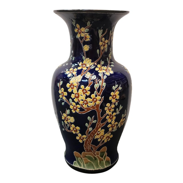 Circa 1880 French Longwy Style Pottery Enameled Yellow Cherry Blossom Motifs Baluster Vase For Sale