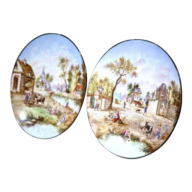 Early 20th Century French Hand-Painted Faience Wall Plates - A Pair For Sale