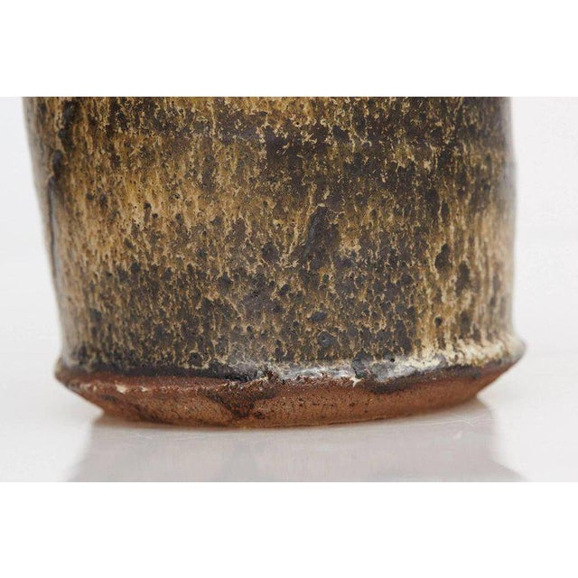 Brown Hand Thrown Freeform Ceramic Vase in Multiple Brown Shades, Signed For Sale - Image 8 of 10