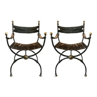 20th Century Renaissance Style Wrought Iron Dante Chairs - a Pair