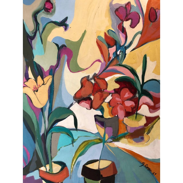 Abstract 1969 Floral Painting Mid Century Still Life Ny Artist For Sale - Image 3 of 8