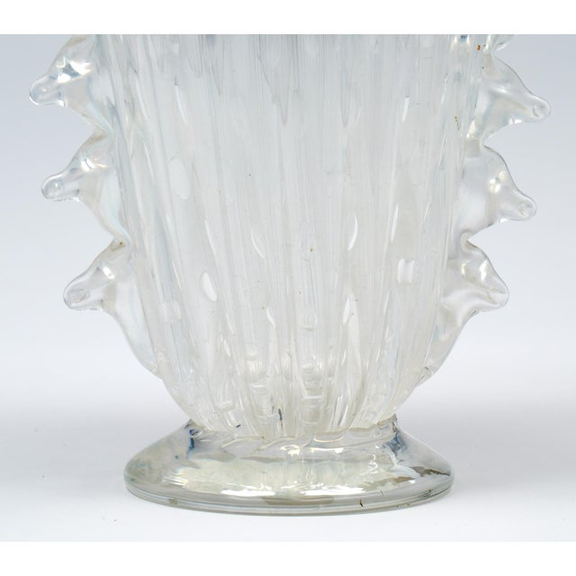 """Crystal Clear Murano """"Pulegoso"""" Glass Vase For Sale - Image 9 of 9"""