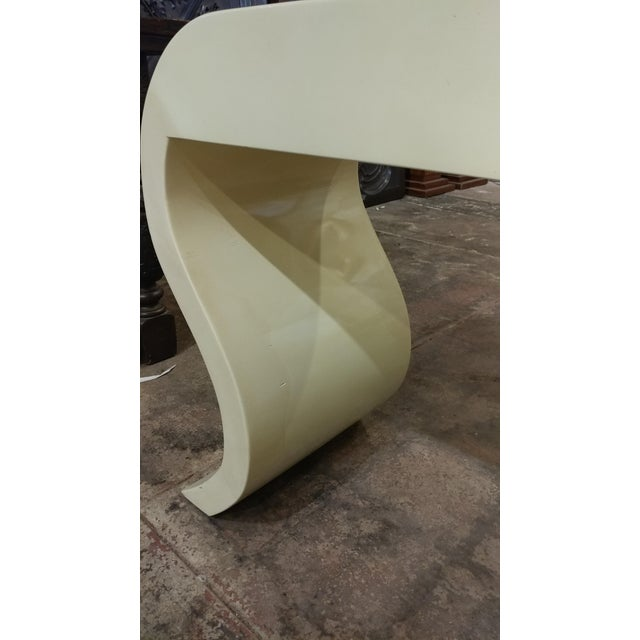 White Lacquered Goat Skin Console Table For Sale - Image 8 of 8