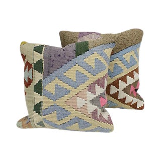 Turkish Geometric Kilim Throw PillowsWith Feather Inserts - A Pair