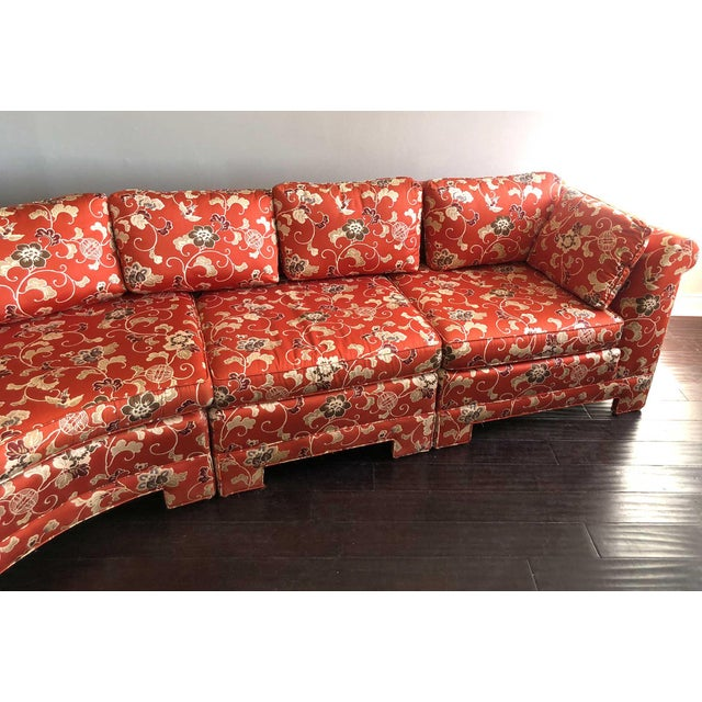 Vintage Chinoiserie Curved Sectional by Hickory Furniture For Sale - Image 11 of 13