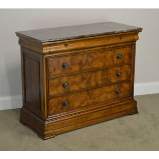 Ethan Allen Townhouse Collection Louis Philippe Style Burlwood Marble Top 3 Drawer Chest Preview