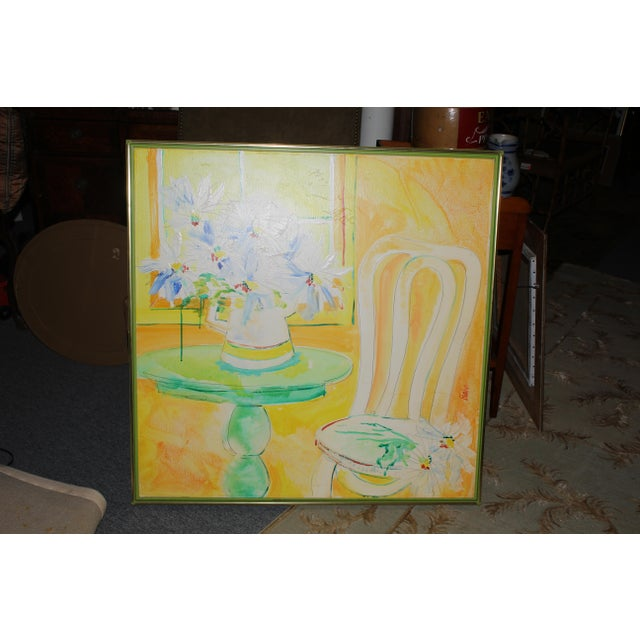 Vintage Mid-Century Yellow Still Life Painting For Sale - Image 9 of 12