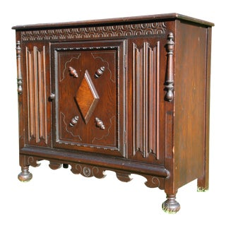 Antique Oak Highly Carved Chest Jacobean Spanish Revival Bar Cabinet Cupboard