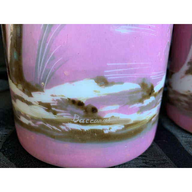 19th Century French Baccarat Opaline Pink & White Glass Vases - a Pair For Sale - Image 11 of 13