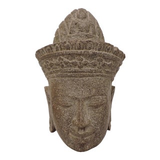 Stone Carved Khmer Head For Sale