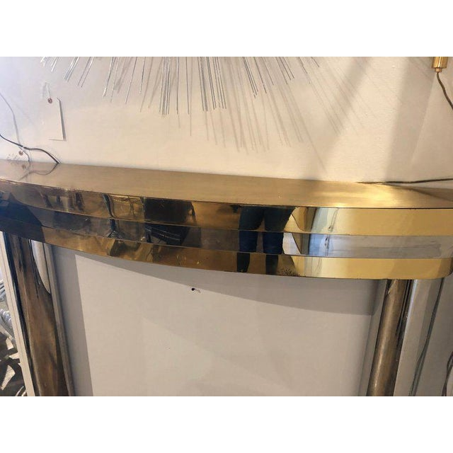 Mid-Century Brass and Chrome Fireplace Mantel For Sale - Image 4 of 7