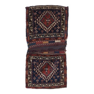 1930s Vintage Small Hand-Knotted Wool Saddlebag Rug - 1′10″ × 3′7″ For Sale