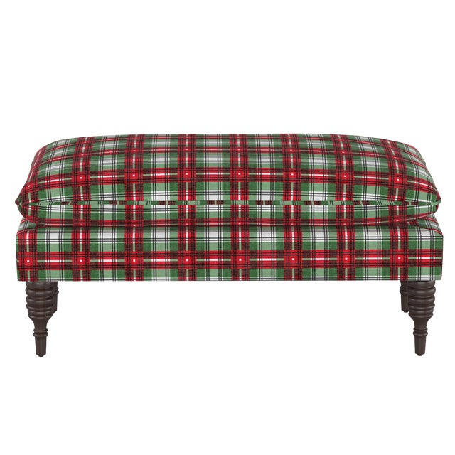 Pillowtop Bench in Nicolas Plaid Green Oga For Sale