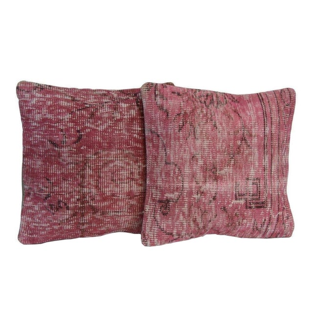 Pink Handmade Over-Dyed Rug Pillow Covers - A Pair - Image 1 of 6