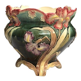 Large French Majolica Iris Jardinière Fives Lille, circa 1890 For Sale
