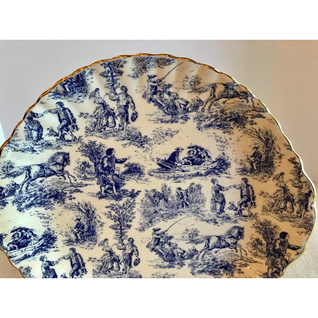 English Blue & White Staffordshire Toile Platter For Sale - Image 3 of 9