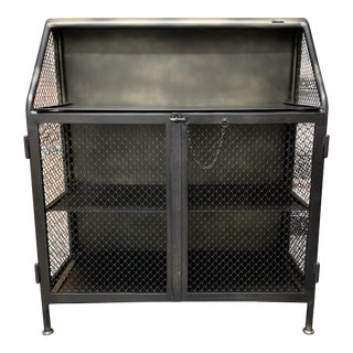 Restoration Hardware Vintage French Factory Bar Cart For Sale