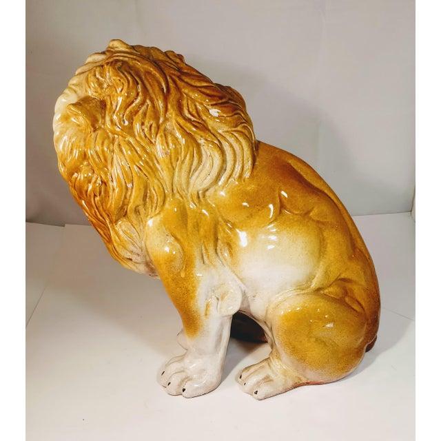 Mid 20th Century Vintage Italian Lion Terra Cotta Figurine For Sale - Image 5 of 13