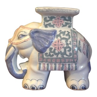 Vintage Ceramic Asian Elephant Plant Stand For Sale