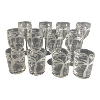 Modern Etched Palm Trees Rolf Glasses Multi-Size Set of 12 For Sale