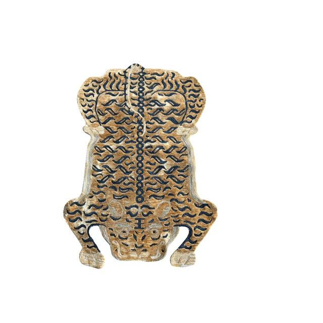 Tan Modern Wool Tibetan Tiger Rug 5' X 7' For Sale - Image 8 of 8