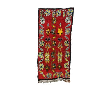 """Moroccan Boucherouite Red Rug- 2'9"""" X 5'10"""" For Sale"""