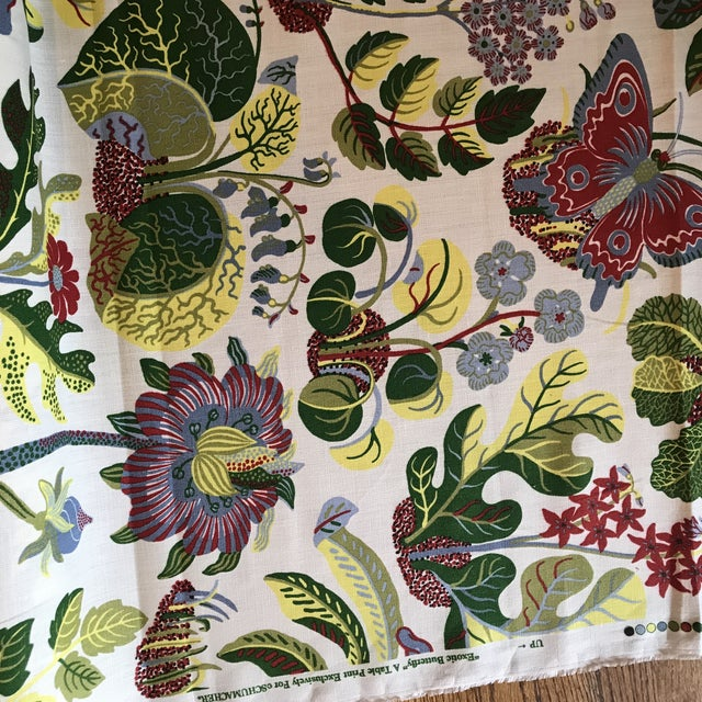 Contemporary Schumacher Exotic Butterfly Print Fabric 13 1/2 Yards For Sale - Image 3 of 10