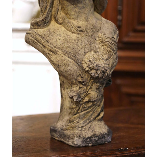 Early 20th Century French Weathered Cast Stone Garden Statuary Female Bust For Sale - Image 4 of 13