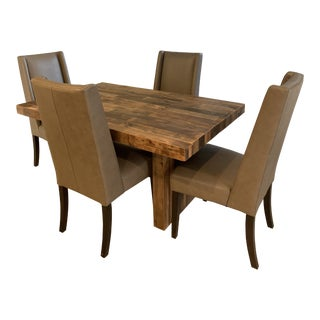 Modern West Elm Emmerson Dining Table and Willoughby Chairs- 5 Pieces For Sale