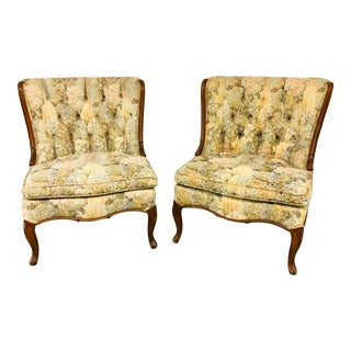 Early 20th Century Vintage Tufted Slipper Chairs- A Pair For Sale