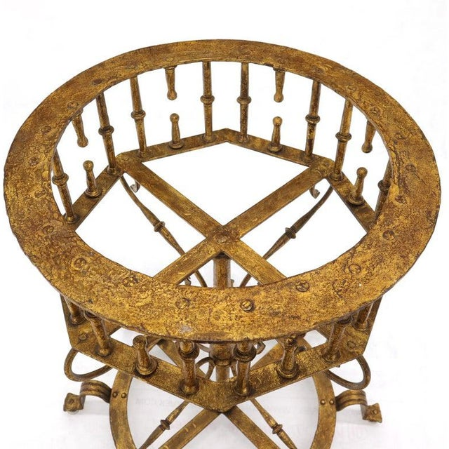 Large Italian Wrought Iron Gold Gilt Planter For Sale - Image 4 of 13