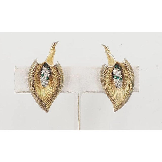 1950s Late 1950s Boucher Calla Lilly Rhinestone Earrings For Sale - Image 5 of 9