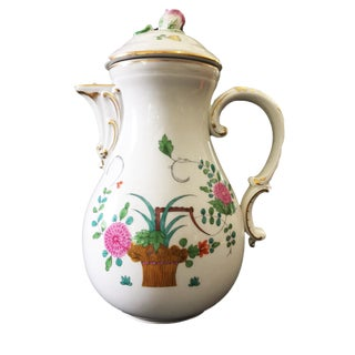 "Antique Meissen Floral Lidded Tea Pot 10.5"" H For Sale"