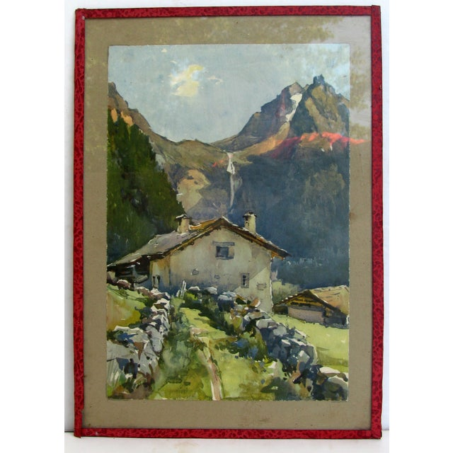 Serene French Alpine Watercolor - Image 2 of 3