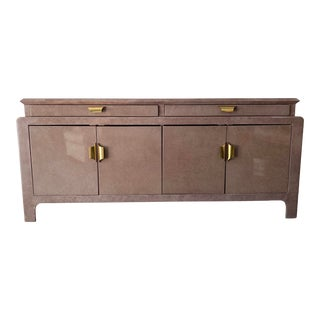 Vintage Karl Springer Style Credenza With Brass Hardware For Sale