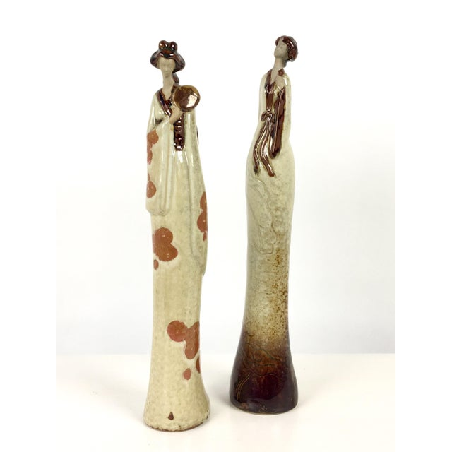 This Is A Unique Set Of Vintage Asian Modern Ceramic Geisha Figures Tall Slender