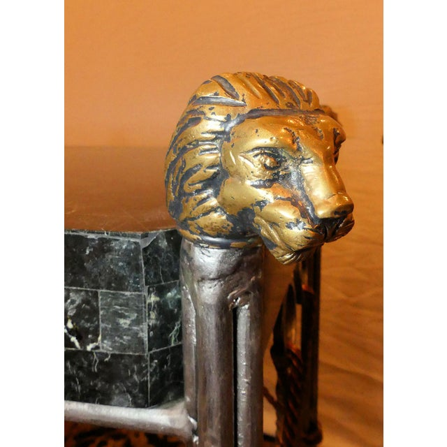 1990s Maitland Smith Hollywood Regency Iron & Brass Tassel Table With Brass Lion Heads- a Pair For Sale - Image 5 of 11