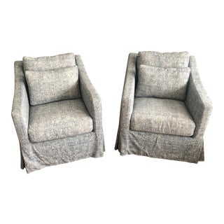 Cisco Brothers Slipcover Swivels- a Pair For Sale