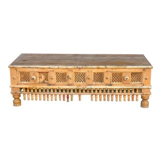 Rustic Tribal Coffee Table W/ 2 Drawers For Sale