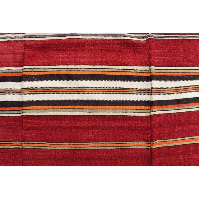 "Vintage Turkish Striped Nomadic Kilim - 5'1"" x 7'9"" - Image 3 of 3"