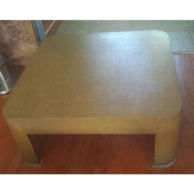 Square Grasscloth Coffee Table After Karl Springer - Image 9 of 10
