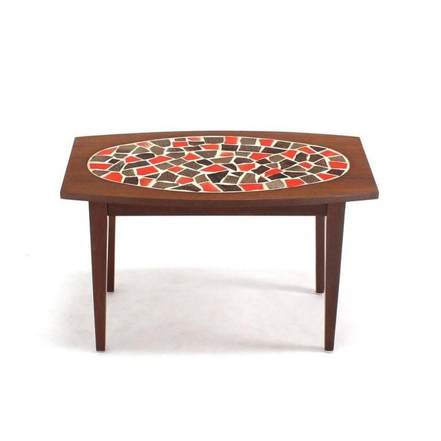 Mosaic Mid Century Vintage Walnut and Tile Mosaic Side Tables- A Pair For Sale - Image 7 of 9