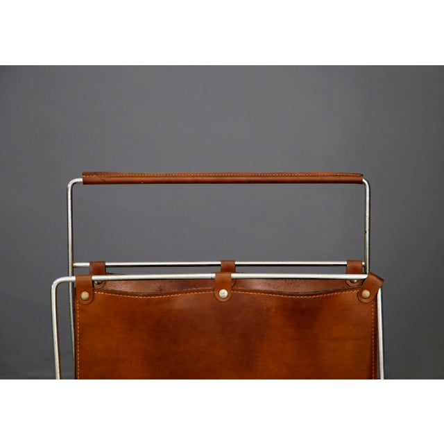 Mid-Century Modern Carl Auböck II MidCentury Magazine Holder in Leather and Steel, 1950's For Sale - Image 3 of 11