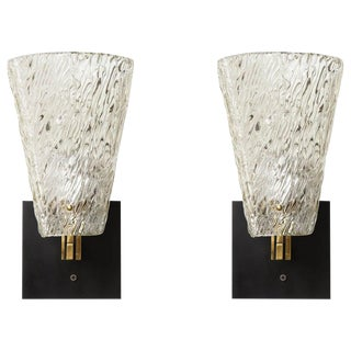 Pair of Sculptural Glass and Brass Sconces For Sale