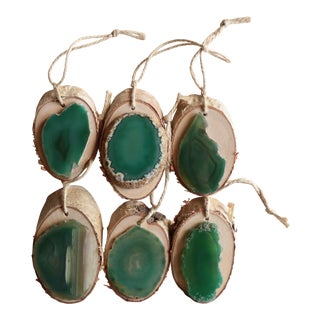 Agate and Birch Slice Christmas Ornaments - Set of 6 For Sale