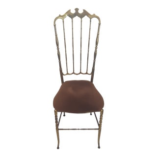 Mid-Century Hollywood Regency Solid Brass Chiavari Vanity Chair For Sale