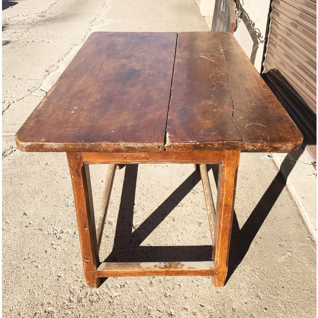 Brown Rustic French Fruitwood Table With Stretchers For Sale - Image 8 of 13