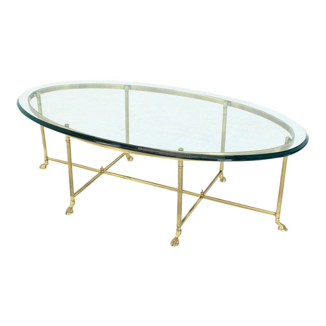 1970s Hollywood Regency Brass Oval Hoof Feet Coffee Table For Sale - Image 9 of 9